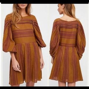 Free People Lilly Striped Dress Womens Lar…